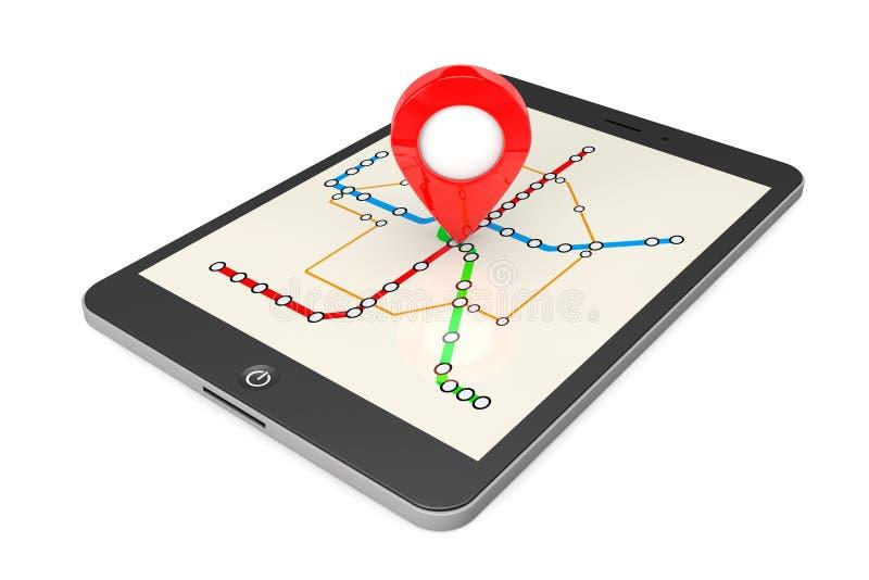 Navigering via minnestavlaPC Lägepekare på minnestavlaPC med Abs royaltyfri illustrationer