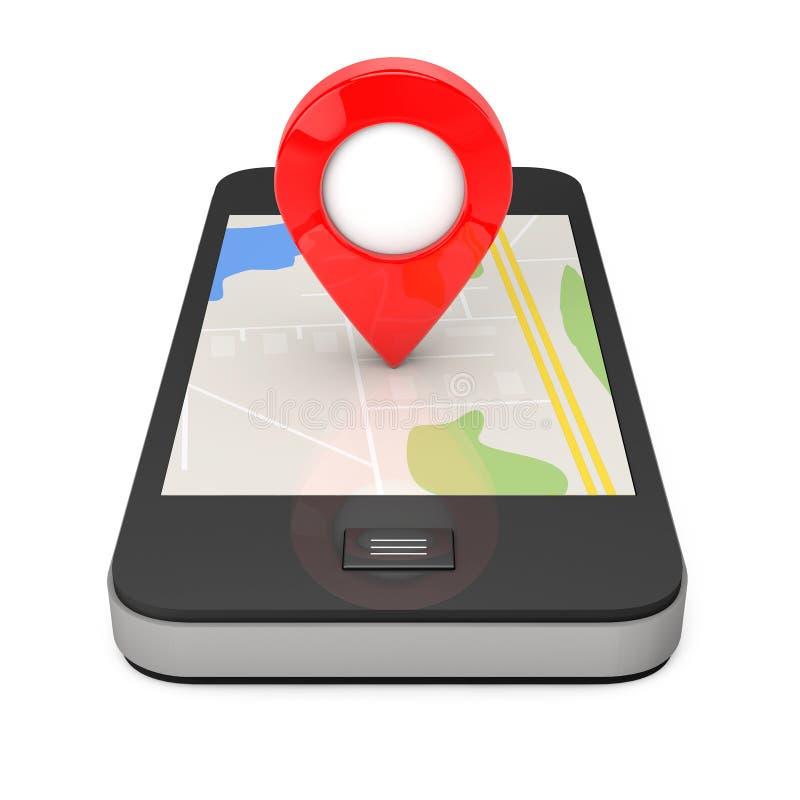 Navigering via Smartphone Lägepekare på telefonen med översikten 3 vektor illustrationer