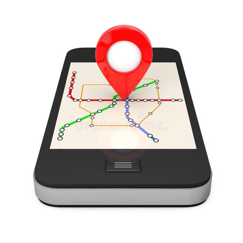 Navigering via Smartphone Lägepekare på telefonen med Abstra vektor illustrationer