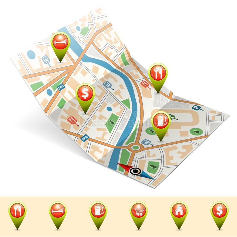 Navigeringbegrepp stock illustrationer