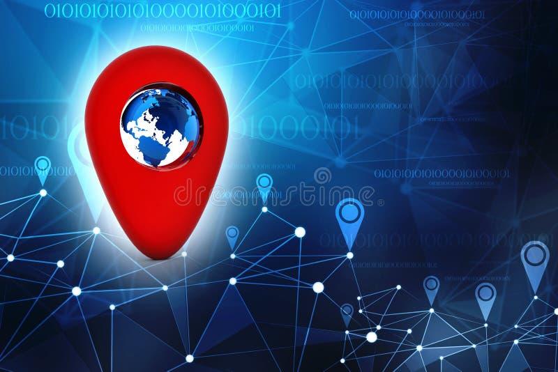 Navigeringbegrepp, Gps-navigering, loppdestination, läge och positioneringbegrepp illustration 3d stock illustrationer