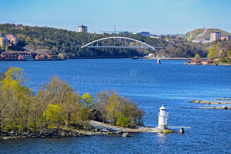 Navigeringfläckar i den Stockholm skärgården arkivbild