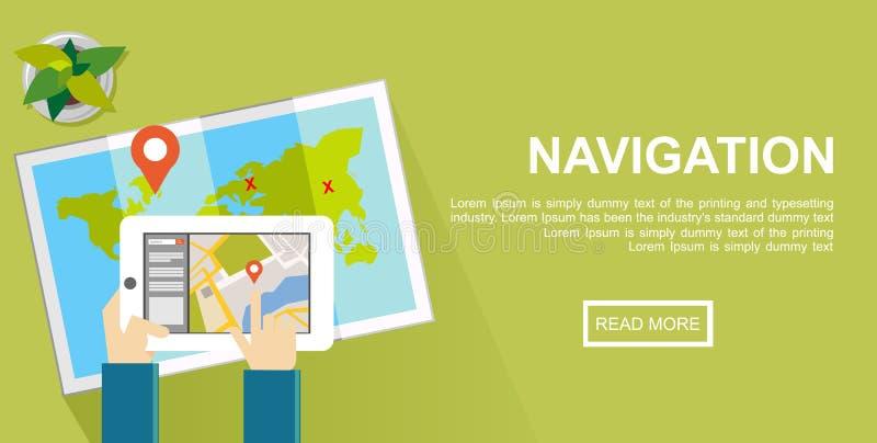 Navigeringillustration Finna för läge och översiktsmarkörbegrepp royaltyfri illustrationer