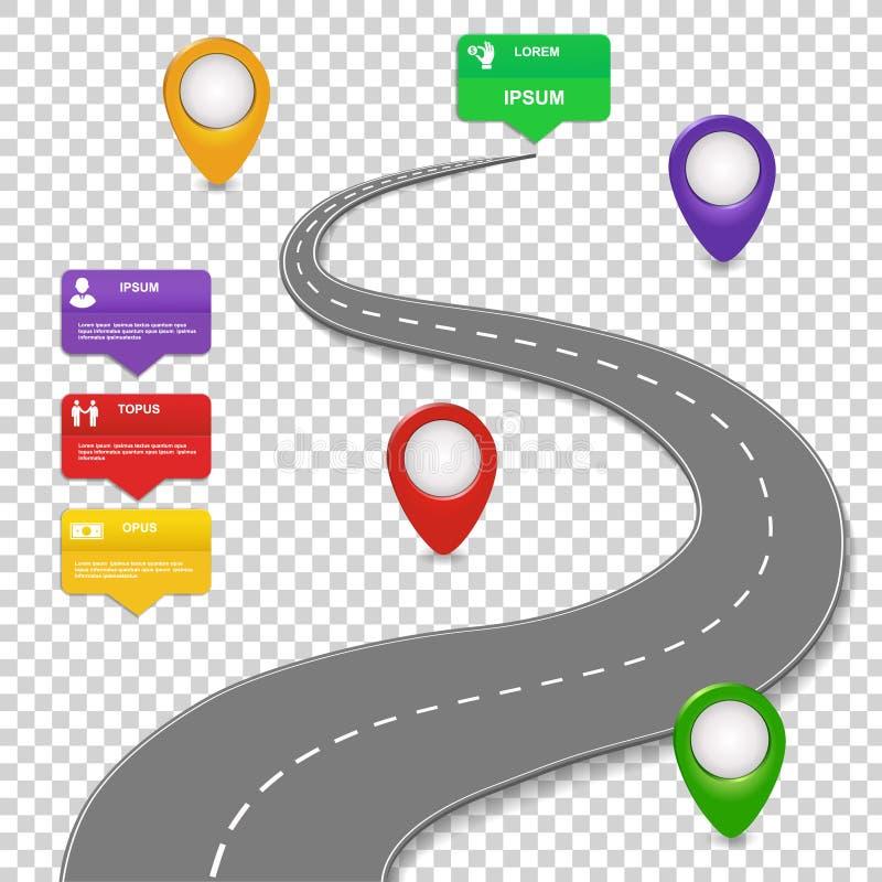 Navigeringinfographicsdesign Begrepp med bilvägen Kretsschema stock illustrationer