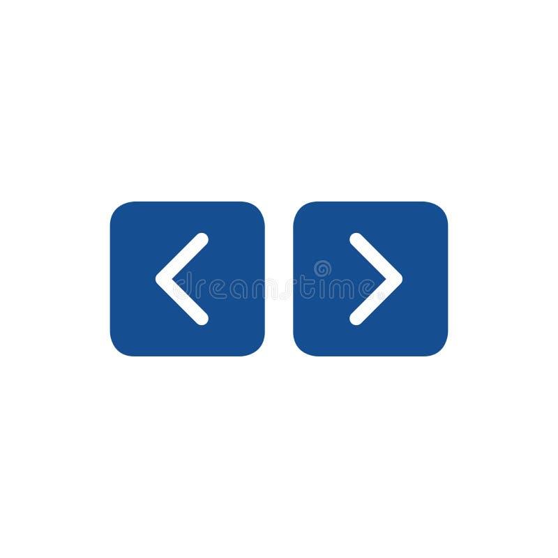 Navigeringpilar uppåt- och neråt symbolrengöringsduk 2 runda fyrkantiga knappar för 0 internet Vektorillustration som isoleras på royaltyfri illustrationer