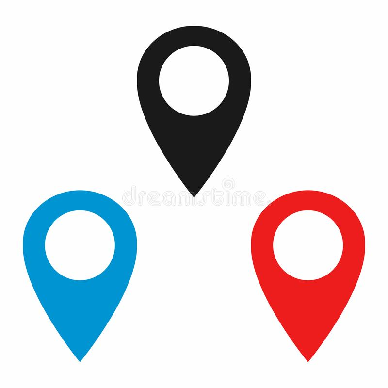 Navigeringstift eller översiktsstift GPS lägesymbol vektor illustrationer