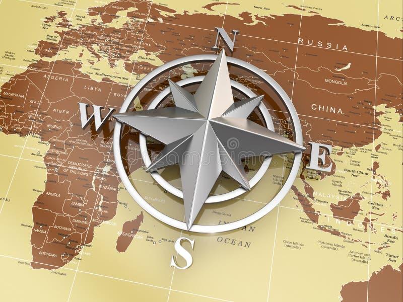 Navigeringtecken eller kompass på politisk översikt. royaltyfri illustrationer