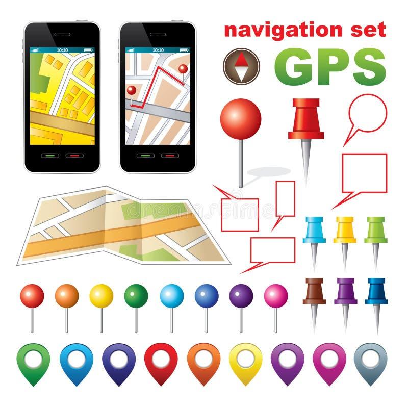 Navigeringuppsättning med symboler GPS. stock illustrationer