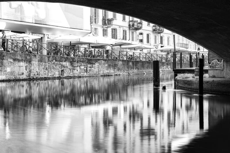 Navigli, de stad van Milaan, de mening van de de zomernacht De Zwart-witte foto van Peking, China stock afbeelding