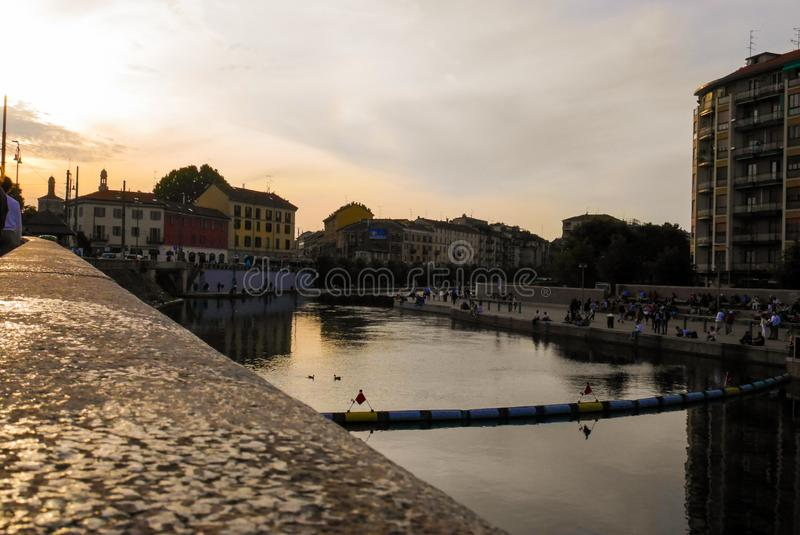 Navigli District view at Milan Italy. Urban, cityscape, river, town, architecture, outdoor, relax, sunset, rest stock photos