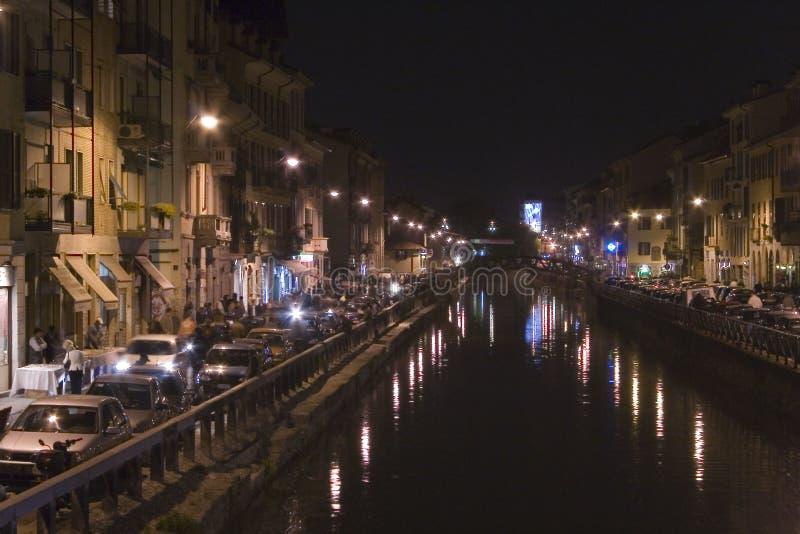 Navigli entro la notte a Milano fotografia stock libera da diritti