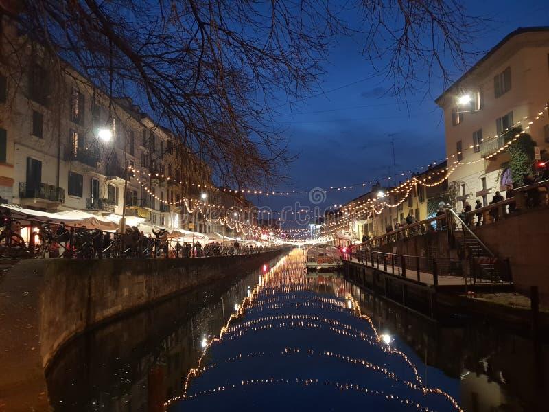 Navigli grand canal in milano milan italy italia. Navigli grand canal milano italy royalty free stock photos