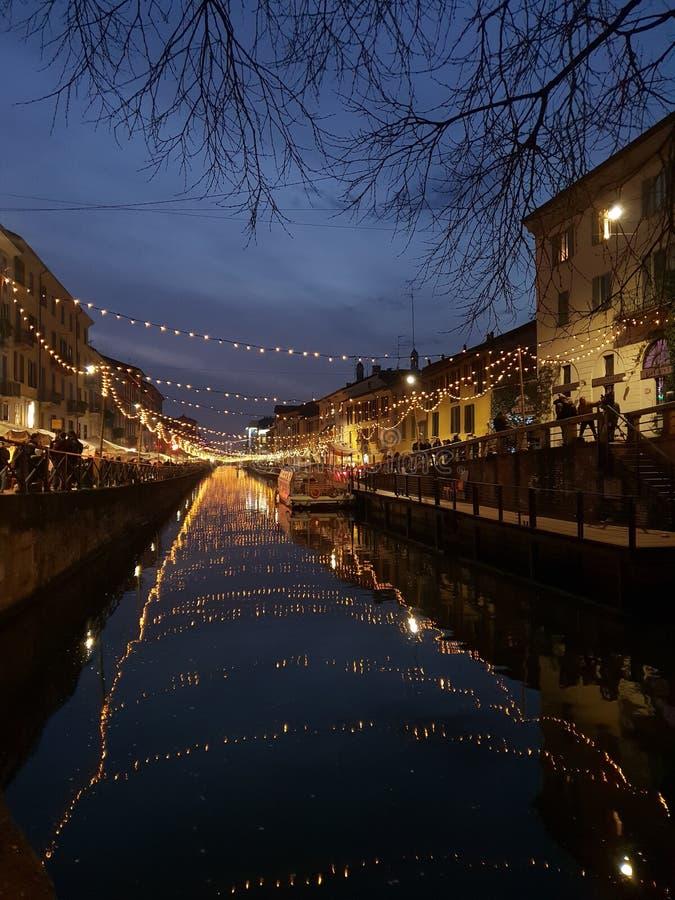Navigli grand canal in milano milan italy italia. Navigli grand canal milano italy italia royalty free stock photos