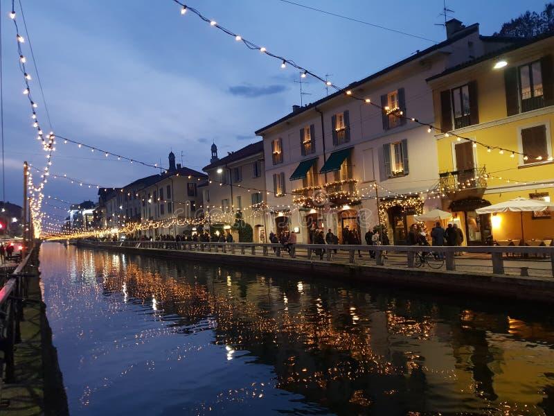 Navigli grand canal in milano milan italy italia. Navigli grand canal milano italy italia royalty free stock photography