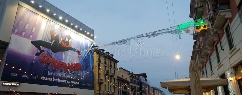 Navigli grand canal in milano milan italy italia spiderman ad. Navigli grand canal milano italy italia spiderman royalty free stock photography