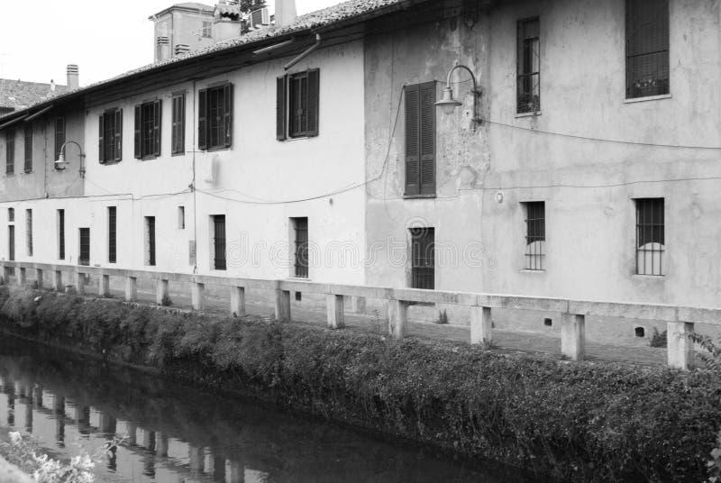 Naviglidella Martesana in het achterland van Milaan stock foto