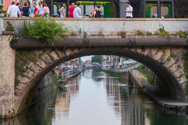 Naviglio Grande, Mediolański, Włochy obraz stock