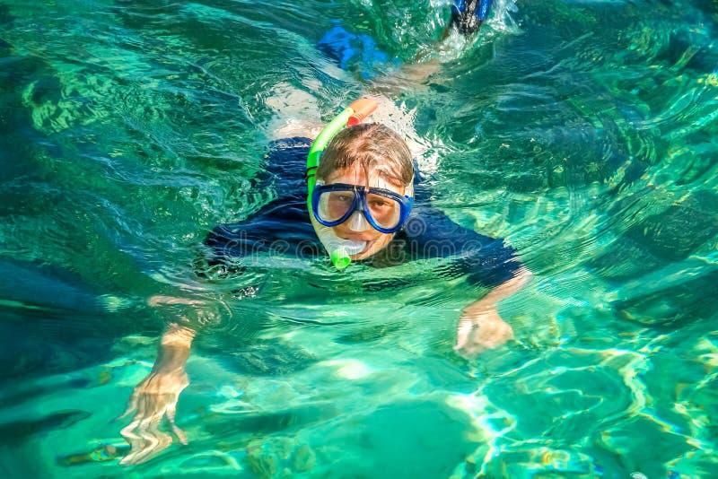 Naviguer au schnorchel dans les eaux claires image libre de droits