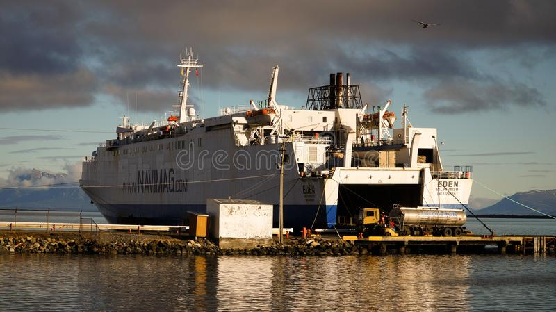 Navimag cruiseship loads up for the sail from Puerto Natales to Puerto Montt in Chile.  royalty free stock images