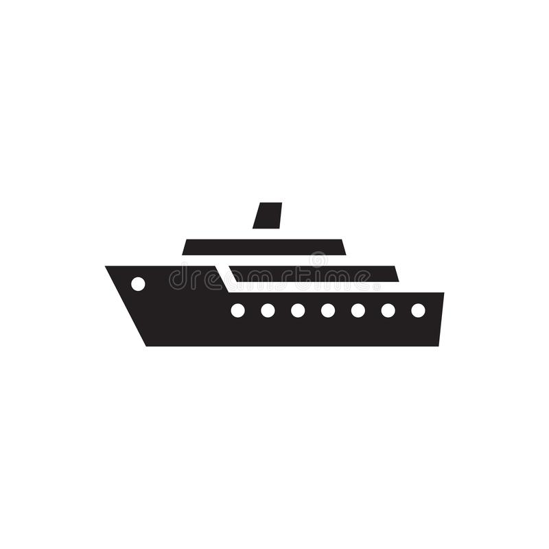 Navio - ícone preto na ilustração branca do vetor do fundo Sinal marinho do conceito do barco de vela Símbolo do transporte Eleme ilustração royalty free