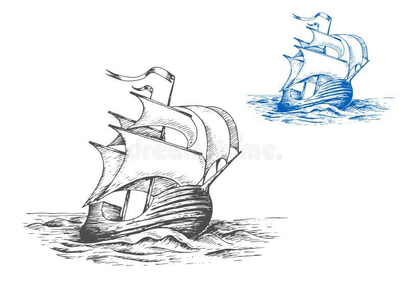 Navio alto medieval sob velas ilustração do vetor