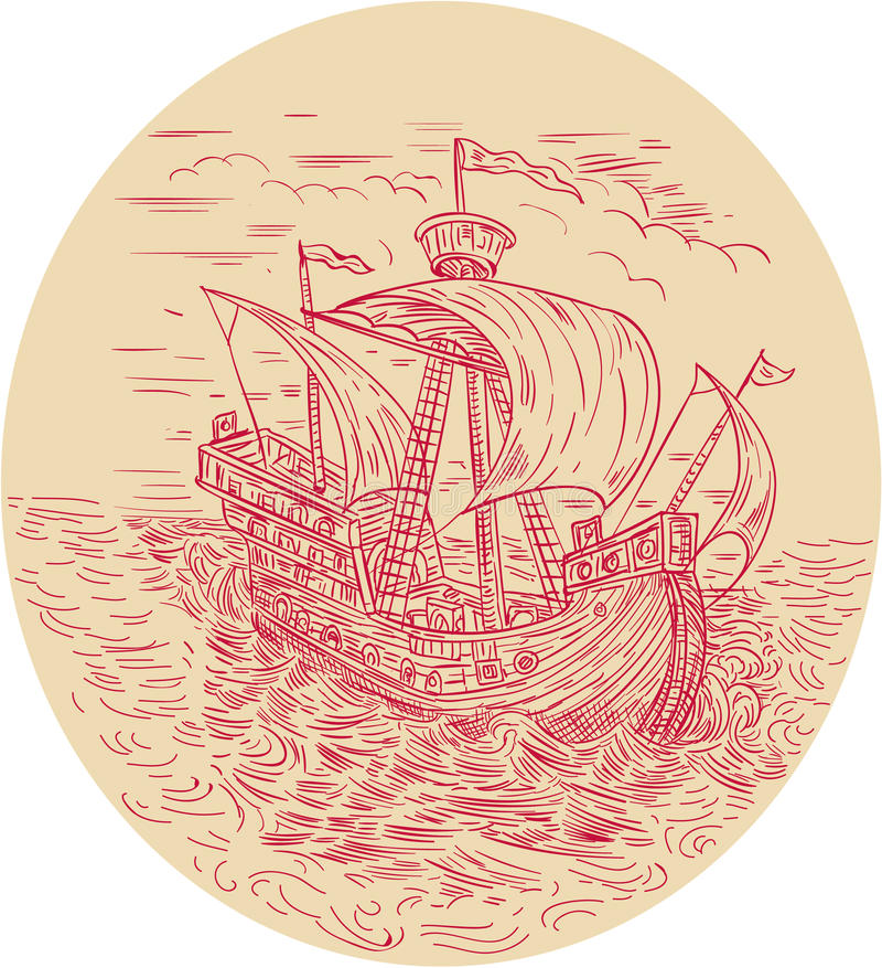 Navio alto que navega o desenho oval do mar tormentoso ilustração do vetor