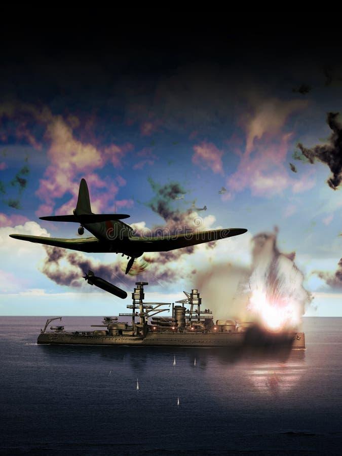 Navio americano sob o ataque ilustração stock
