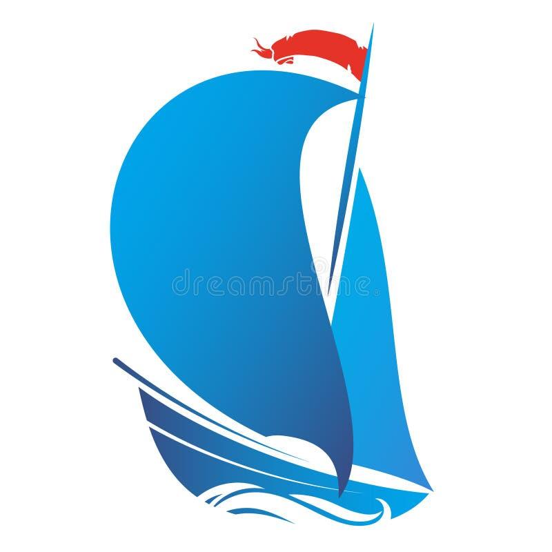 Navio com vetor da vela ilustração royalty free