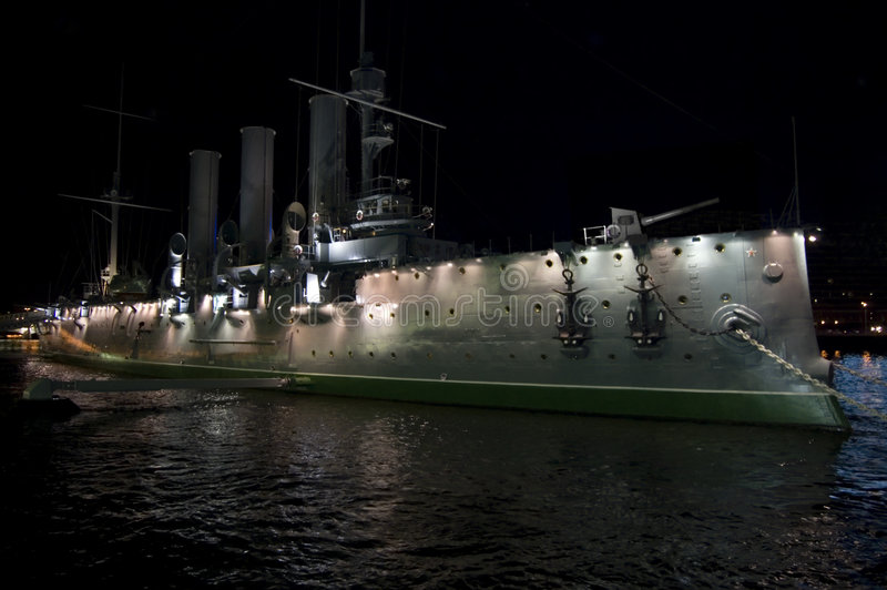 Navio da Aurora na noite fotografia de stock