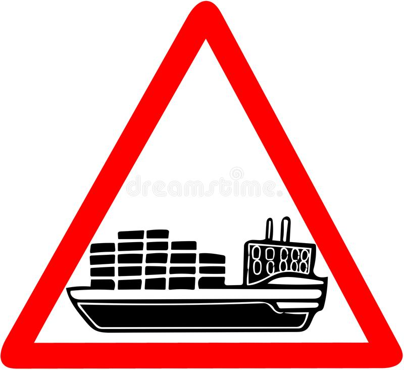 Navio da embarcação de carga que adverte o sinal de estrada vermelho do círculo isolado no branco ilustração do vetor