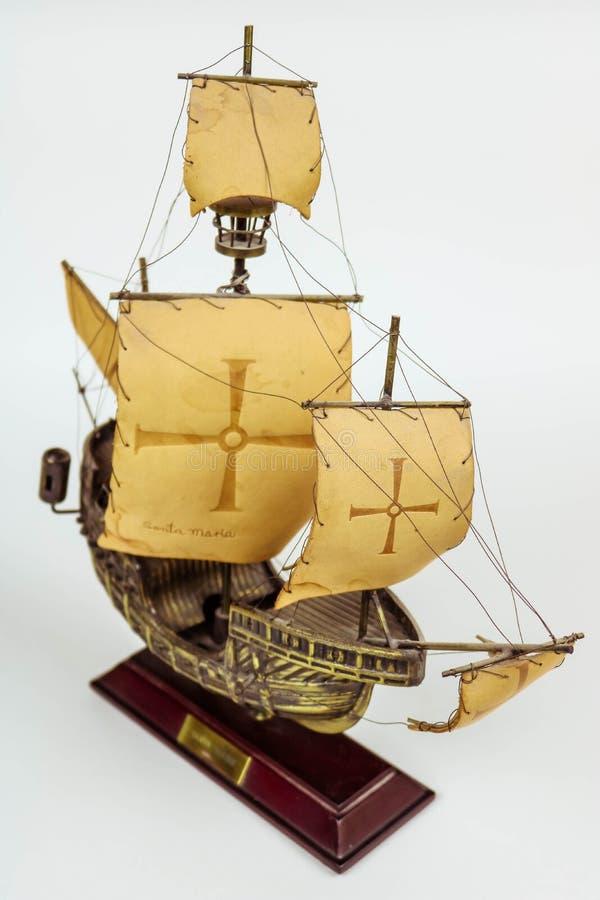 Navio de bronze velho - Santa Maria imagens de stock