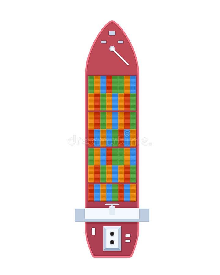Navio de carga do anúncio publicitário e do passageiro, embarcação de recipiente, vista superior ilustração stock