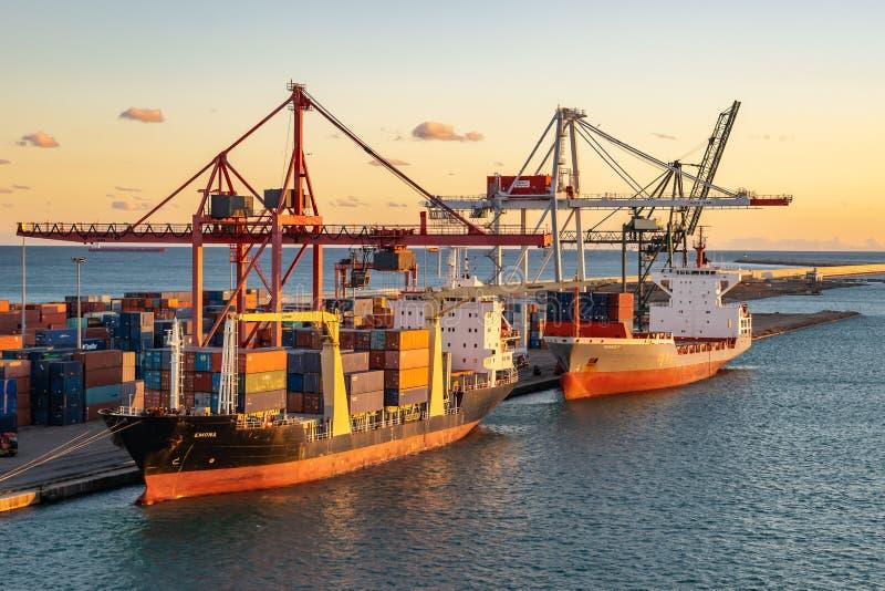 Navio de carga de Emona e embarcação de carga de Renate P entrada no porto de Barcelona no por do sol imagem de stock