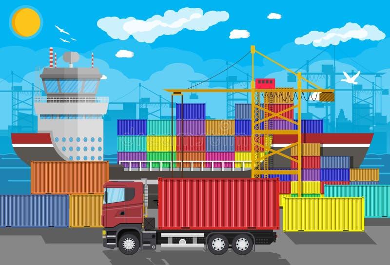 Navio de carga, guindaste do recipiente, caminhão Logística do porto ilustração stock