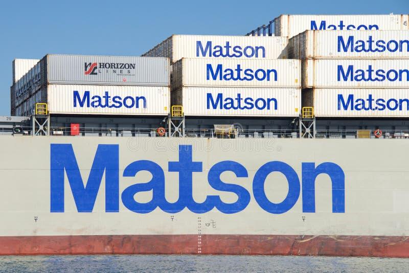 Navio de carga MANOA de Matson que entra no porto de Oakland fotografia de stock