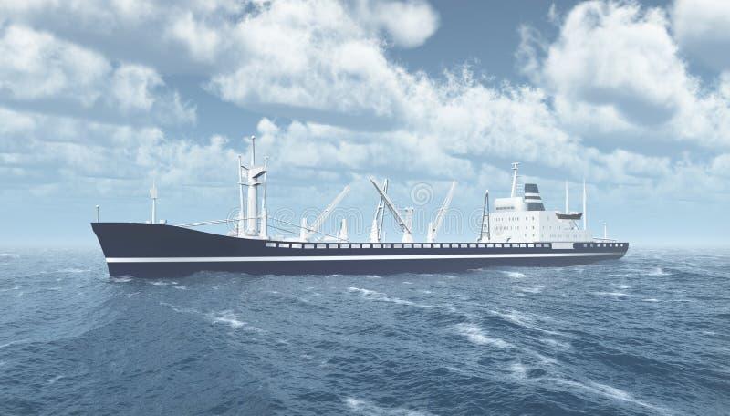 Navio de carga no mar tormentoso ilustração stock