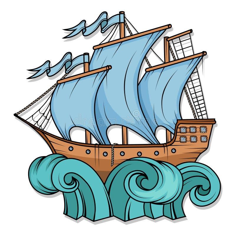 Navio de carga retro Por do sol Logotipo do barco de navigação ilustração stock