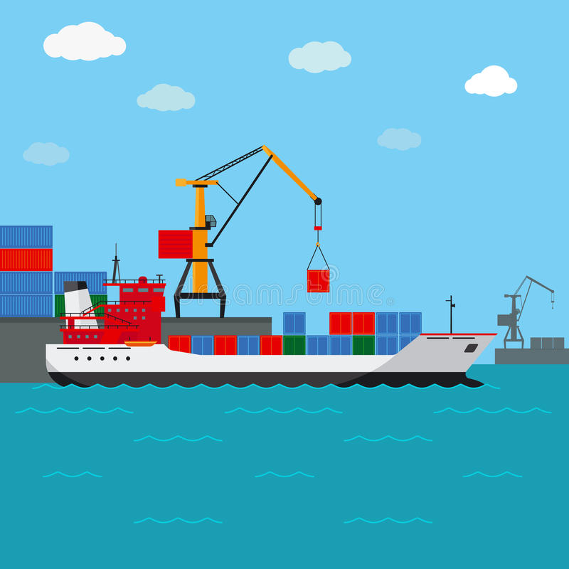 Navio de carga Transporte do frete pela água ilustração royalty free