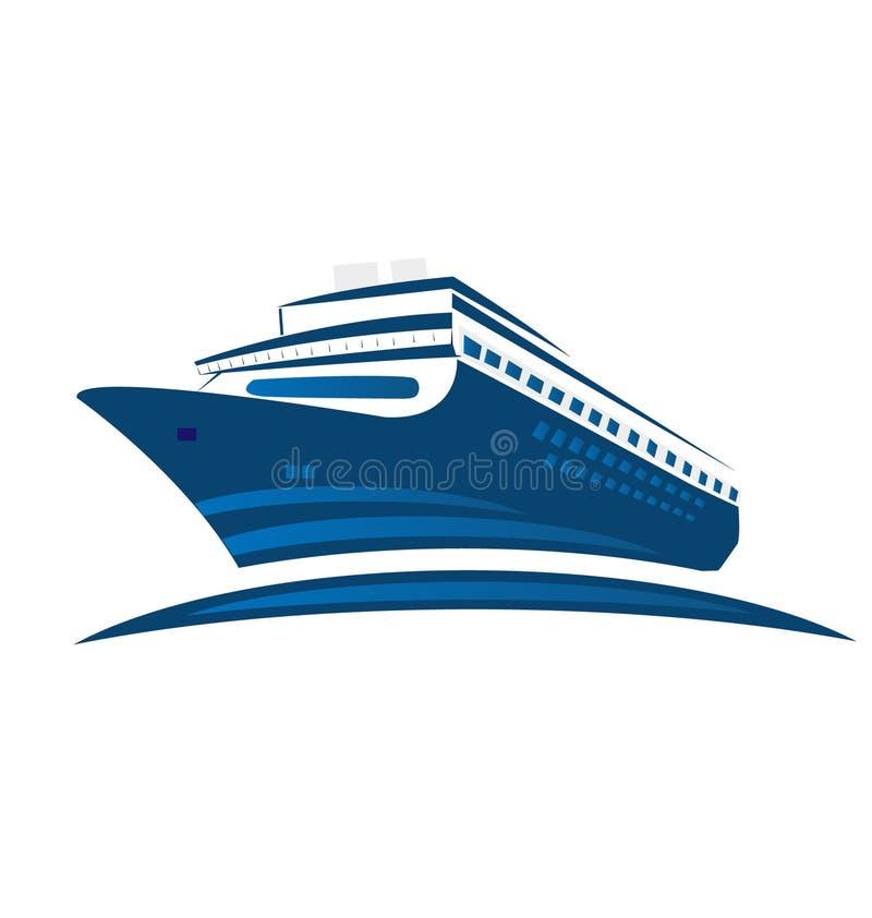 Navio de cruzeiros azul, logotipo do símbolo ilustração do vetor