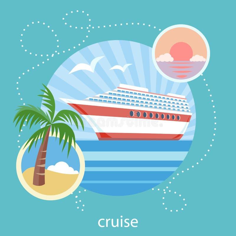 Navio de cruzeiros e água azul do espaço livre Turismo da água ilustração do vetor