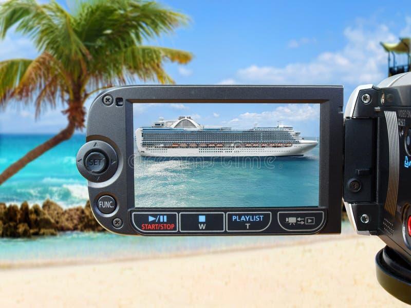 Navio de cruzeiros na tela da câmera imagem de stock
