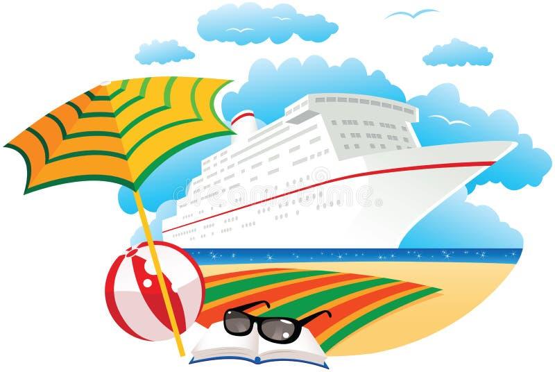 Navio de cruzeiros perto da praia ilustração stock