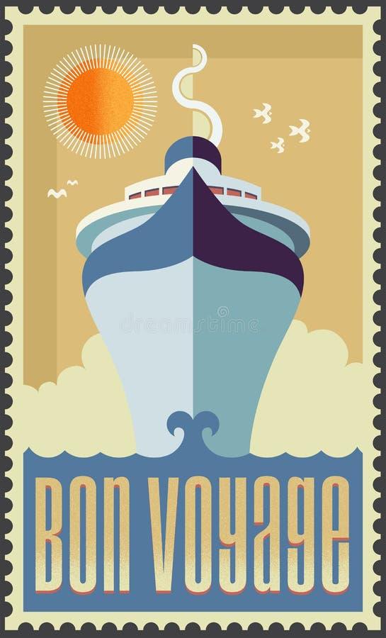 Navio de cruzeiros retro do vintage ilustração do vetor