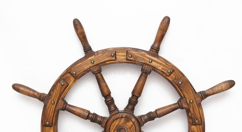Navio de direção da roda de mão no fundo branco foto de stock royalty free
