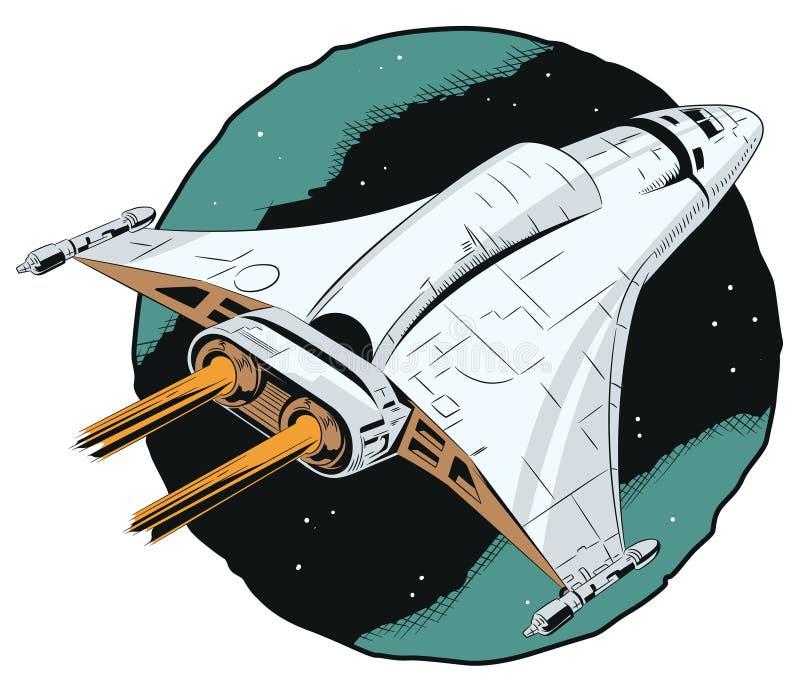 Navio de espaço em voo ilustração stock