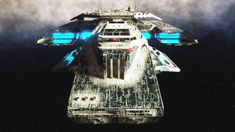 Navio de espaço futurista dentro Opinião do wonderfull do planeta da terra Superfície de metal realística rendição 3d ilustração do vetor