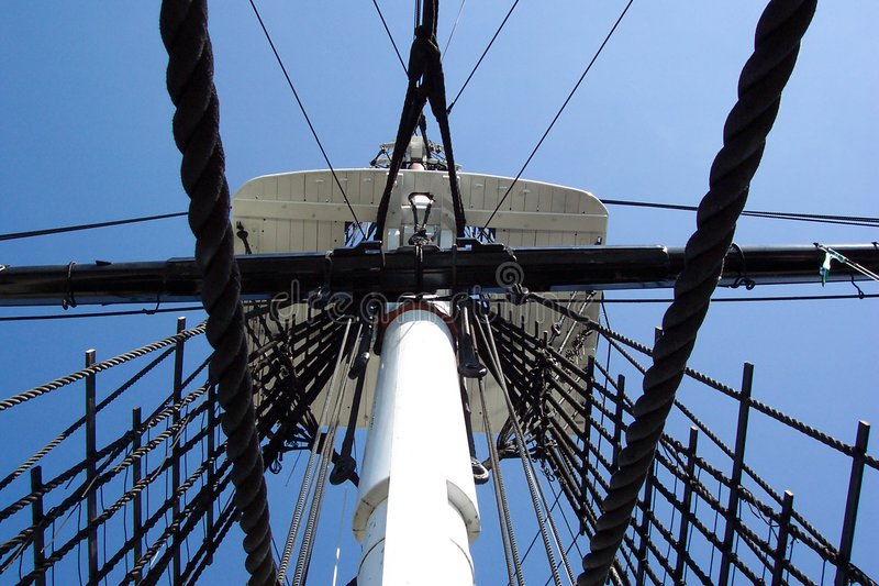 Navio De Guerra Da Constituição De Crowes Nest-U.S.S. Fotografia de Stock