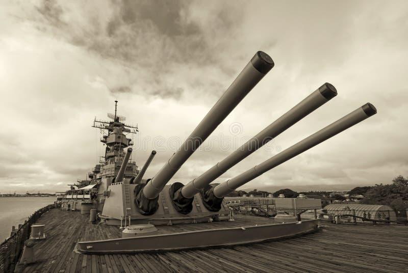 Navio de guerra de USS Missouri no Pearl Harbor em Havaí imagem de stock