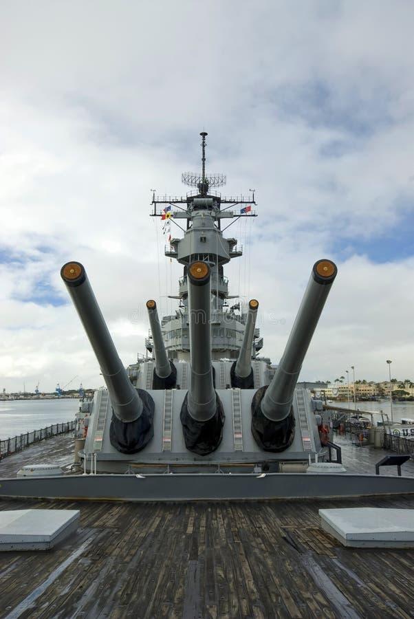 Navio de guerra de USS Missouri no Pearl Harbor em Havaí fotografia de stock royalty free