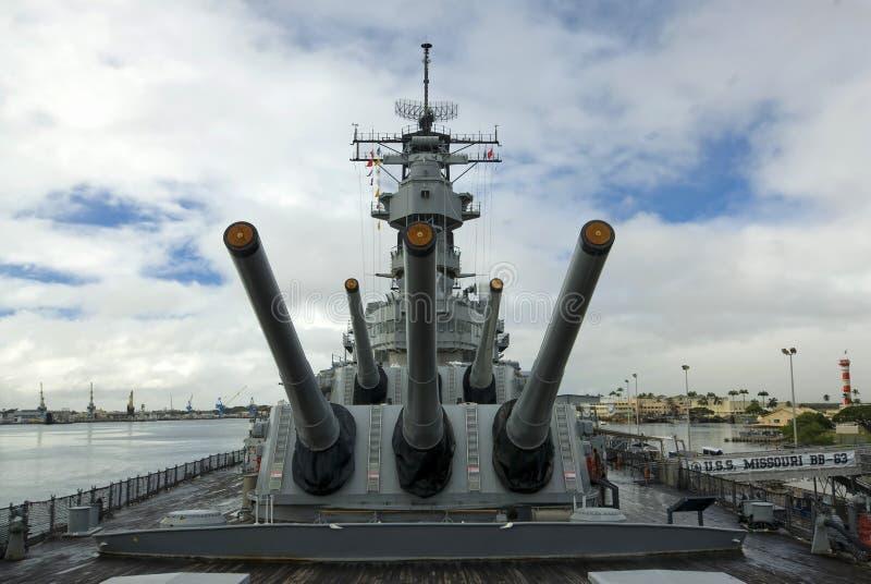 Navio de guerra de USS Missouri no Pearl Harbor em Havaí imagens de stock
